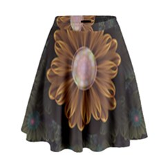Abloom In Autumn Leaves With Faded Fractal Flowers High Waist Skirt