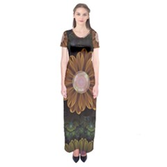 Abloom In Autumn Leaves With Faded Fractal Flowers Short Sleeve Maxi Dress