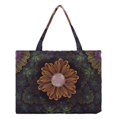 Abloom In Autumn Leaves With Faded Fractal Flowers Medium Tote Bag