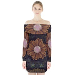 Abloom In Autumn Leaves With Faded Fractal Flowers Long Sleeve Off Shoulder Dress
