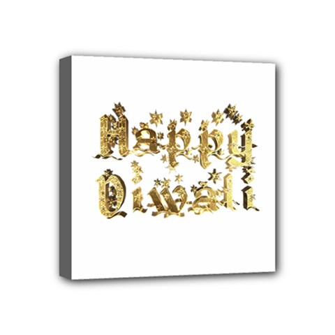 Happy Diwali Gold Golden Stars Star Festival Of Lights Deepavali Typography Mini Canvas 4  X 4