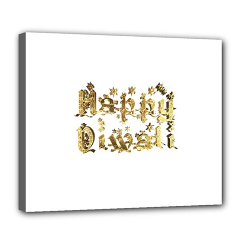 Happy Diwali Gold Golden Stars Star Festival Of Lights Deepavali Typography Deluxe Canvas 24  X 20
