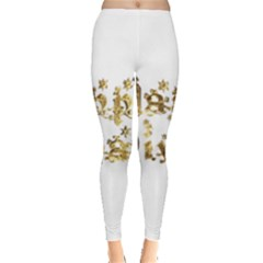 Happy Diwali Gold Golden Stars Star Festival Of Lights Deepavali Typography Leggings