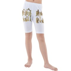 Happy Diwali Gold Golden Stars Star Festival Of Lights Deepavali Typography Kids  Mid Length Swim Shorts
