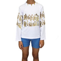 Happy Diwali Gold Golden Stars Star Festival Of Lights Deepavali Typography Kids  Long Sleeve Swimwear