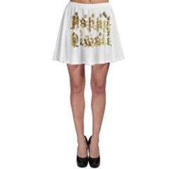 Happy Diwali Gold Golden Stars Star Festival Of Lights Deepavali Typography Skater Skirt