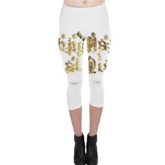Happy Diwali Gold Golden Stars Star Festival Of Lights Deepavali Typography Capri Leggings