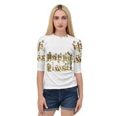 Happy Diwali Gold Golden Stars Star Festival Of Lights Deepavali Typography Quarter Sleeve Raglan Tee