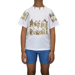 Happy Diwali Gold Golden Stars Star Festival Of Lights Deepavali Typography Kids  Short Sleeve Swimwear
