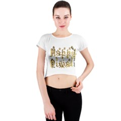 Happy Diwali Gold Golden Stars Star Festival Of Lights Deepavali Typography Crew Neck Crop Top
