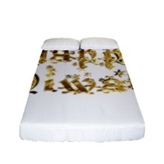 Happy Diwali Gold Golden Stars Star Festival Of Lights Deepavali Typography Fitted Sheet (full/ Double Size)