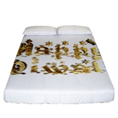 Happy Diwali Gold Golden Stars Star Festival Of Lights Deepavali Typography Fitted Sheet (king Size)