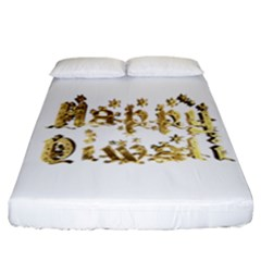 Happy Diwali Gold Golden Stars Star Festival Of Lights Deepavali Typography Fitted Sheet (california King Size)
