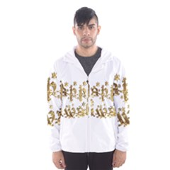Happy Diwali Gold Golden Stars Star Festival Of Lights Deepavali Typography Hooded Wind Breaker (men)