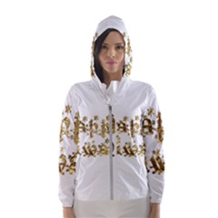 Happy Diwali Gold Golden Stars Star Festival Of Lights Deepavali Typography Hooded Wind Breaker (women)