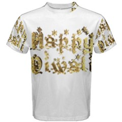 Happy Diwali Gold Golden Stars Star Festival Of Lights Deepavali Typography Men s Cotton Tee