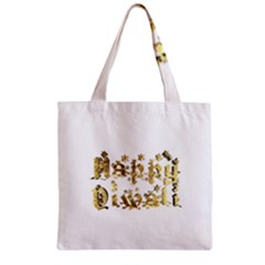 Happy Diwali Gold Golden Stars Star Festival Of Lights Deepavali Typography Zipper Grocery Tote Bag