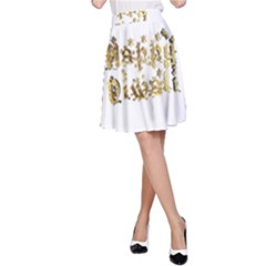Happy Diwali Gold Golden Stars Star Festival Of Lights Deepavali Typography A Line Skirt