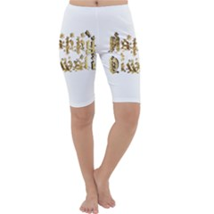 Happy Diwali Gold Golden Stars Star Festival Of Lights Deepavali Typography Cropped Leggings