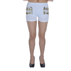 Happy Diwali Gold Golden Stars Star Festival Of Lights Deepavali Typography Skinny Shorts