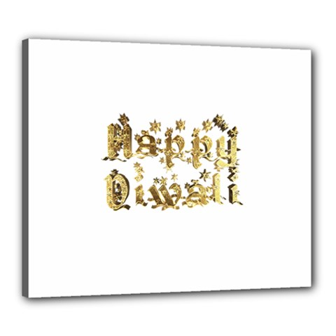 Happy Diwali Gold Golden Stars Star Festival Of Lights Deepavali Typography Canvas 24  X 20