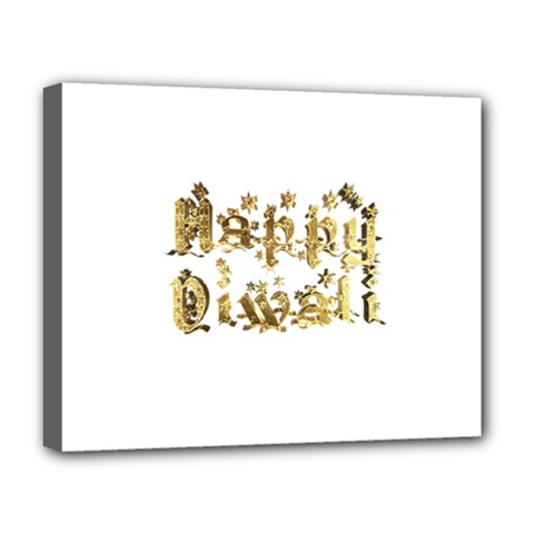 Happy Diwali Gold Golden Stars Star Festival Of Lights Deepavali Typography Deluxe Canvas 20  X 16