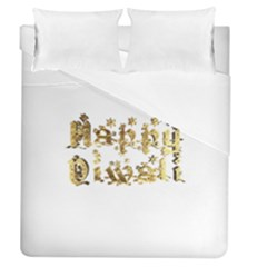 Happy Diwali Gold Golden Stars Star Festival Of Lights Deepavali Typography Duvet Cover (queen Size)