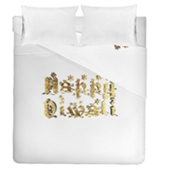 Happy Diwali Gold Golden Stars Star Festival Of Lights Deepavali Typography Duvet Cover Double Side (queen Size)