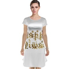Happy Diwali Gold Golden Stars Star Festival Of Lights Deepavali Typography Cap Sleeve Nightdress