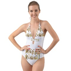 Happy Diwali Gold Golden Stars Star Festival Of Lights Deepavali Typography Halter Cut Out One Piece Swimsuit
