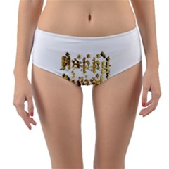 Happy Diwali Gold Golden Stars Star Festival Of Lights Deepavali Typography Reversible Mid Waist Bikini Bottoms