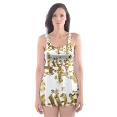 Happy Diwali Gold Golden Stars Star Festival Of Lights Deepavali Typography Skater Dress Swimsuit
