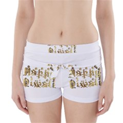 Happy Diwali Gold Golden Stars Star Festival Of Lights Deepavali Typography Boyleg Bikini Wrap Bottoms