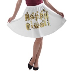 Happy Diwali Gold Golden Stars Star Festival Of Lights Deepavali Typography A Line Skater Skirt
