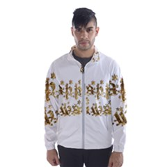 Happy Diwali Gold Golden Stars Star Festival Of Lights Deepavali Typography Wind Breaker (men)