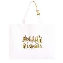 Happy Diwali Gold Golden Stars Star Festival Of Lights Deepavali Typography Zipper Large Tote Bag