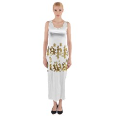Happy Diwali Gold Golden Stars Star Festival Of Lights Deepavali Typography Fitted Maxi Dress