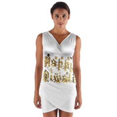Happy Diwali Gold Golden Stars Star Festival Of Lights Deepavali Typography Wrap Front Bodycon Dress