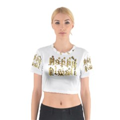 Happy Diwali Gold Golden Stars Star Festival Of Lights Deepavali Typography Cotton Crop Top