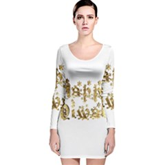 Happy Diwali Gold Golden Stars Star Festival Of Lights Deepavali Typography Long Sleeve Velvet Bodycon Dress