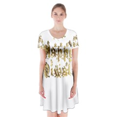 Happy Diwali Gold Golden Stars Star Festival Of Lights Deepavali Typography Short Sleeve V Neck Flare Dress