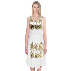 Happy Diwali Gold Golden Stars Star Festival Of Lights Deepavali Typography Midi Sleeveless Dress