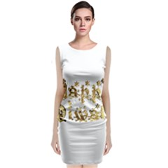 Happy Diwali Gold Golden Stars Star Festival Of Lights Deepavali Typography Classic Sleeveless Midi Dress