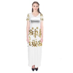Happy Diwali Gold Golden Stars Star Festival Of Lights Deepavali Typography Short Sleeve Maxi Dress