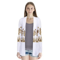 Happy Diwali Gold Golden Stars Star Festival Of Lights Deepavali Typography Drape Collar Cardigan