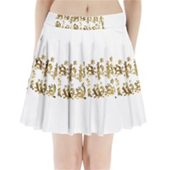 Happy Diwali Gold Golden Stars Star Festival Of Lights Deepavali Typography Pleated Mini Skirt