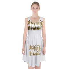 Happy Diwali Gold Golden Stars Star Festival Of Lights Deepavali Typography Racerback Midi Dress