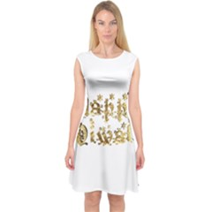 Happy Diwali Gold Golden Stars Star Festival Of Lights Deepavali Typography Capsleeve Midi Dress