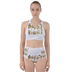 Happy Diwali Gold Golden Stars Star Festival Of Lights Deepavali Typography Racer Back Bikini Set