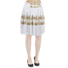 Happy Diwali Gold Golden Stars Star Festival Of Lights Deepavali Typography Pleated Skirt